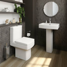 Bathroom Cloakroom Suite Close Coupled Toilet Basin Sink Full Pedestal Modern Royan