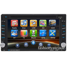 Bluetooth Car CD DVD USB Double Din Stereo SatNav GPS FM Radio Player With Maps