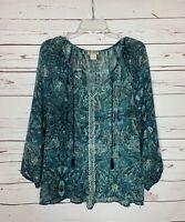 Lucky Brand Women's L Large Navy Blue Boho Long Sleeve Sheer Top Blouse Shirt