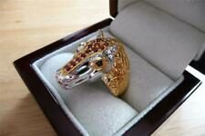 ORANGE RED BLUE SAPPHIRE 925 STERLING SILVER GOLD HORSE RING SZ R1/2/S 9.25/9.5
