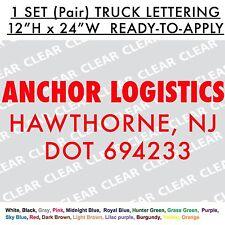 TRUCK LETTERING/VAN Pair of 12x24 Custom Cut-out Vinyl Decal Sticker Large Door