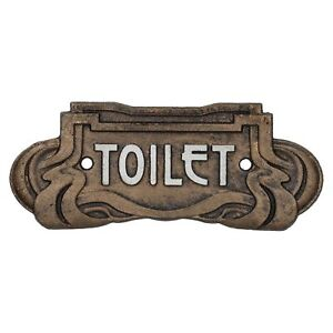 Toilet Sign Door Art Nouveau Cast Iron Antique Bronze Finish Vintage Style