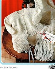 249 CROCHET PATTERN ONLY BABY JACKET SHAWL & HAT 4PLY 41-51cm VINTAGE