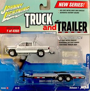 Johnny Lightning 1996 Silver/White DODGE RAM Truck & Trailer Limited Ed Ser $6Sh