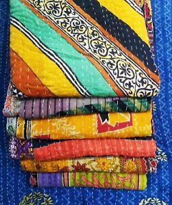 Indian Handmade Throw Cotton Blanket Bed Spread Reversible Kantha Quilt Gudri 5p