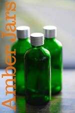 8x 100ml Green Glass Bottle wadded Mat Silver grooved lid FREE POST Aromatherapy