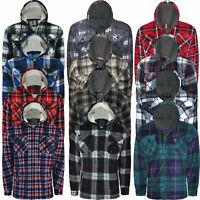 Mens Padded Shirt Sherpa Fur Lined Lumberjack Flannel Work Jacket Thick Hoodie