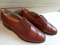 Loake Shoemakers full leather brogue UK 8.5 42.5 Goodyear welt tan wingtip derby