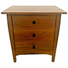 Stickley Three Drawer Chest Side Table Nightstand Solid Cherry Wood