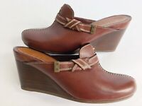 COLE HAAN Womens Shoes Size 8.5 Leather Color-Cordavon Western Mules Wedge Clogs