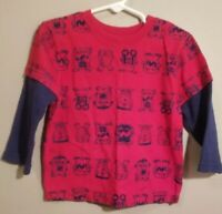 Garanimals Toddler Boy Long Sleeve Red/Blue T-Shirt Size 3T With Monsters