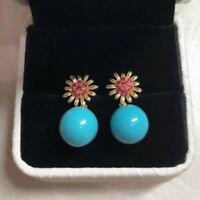 Natural Red Ruby Blue Turquoise Drop Earrings 14K Yellow Gold Gemstone Jewelry