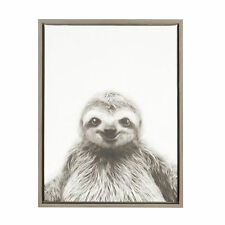 Sloth Black and White Portrait Gray Framed Canvas Wall Art by Simon Te Tai