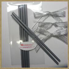 "25pcs x (6"" Silver Lollipop Stick + Bag + Silver Bows) for cake pops"