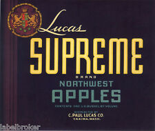 APPLE CRATE LABEL YAKIMA WASHINGTON VINTAGE ADVERTISING LUCAS SUPREME CREST