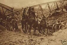 "British Field Artillery Crossing Dry Canal Bed World War 1 6x4"" Reprint Photo"