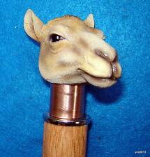 HandMade pecan/OAK *CAMEL head* walking stick copper collar~ARAB CANE~Dubai gift