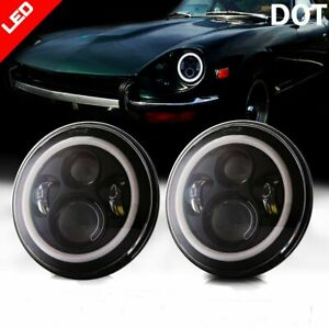 "7"" Inch Angel Eye LED Headlight For Datsun 240Z 260Z 280Z 280ZX 1970-78 H4 H13"