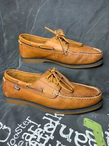Polo Ralph Lauren Men's Size 9.5 Bienne premium Leather Boat Shoes loafer brown