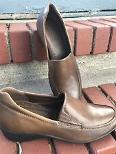 Womens Ecco Shoes Loafers US 8 / 8.5 EUR 39 Brown Shock Point Leather Slip On