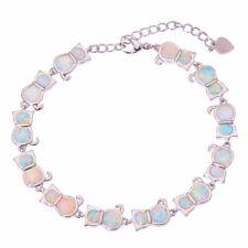 """White Fire Opal Lovely Cute Cat Silver Women Jewelry Chain Bracelet 7.5"""" OS333"""
