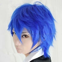 For Cosplay New Hot Vocaloid  Short Blue Layered Anime Party Cos Wig