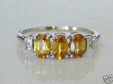 Beautiful 9ct White Gold Sphene & Zircon Ring Size S