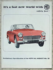 Mg Midget Mk Iii especificación preliminar de ventas de automóviles folleto 1966 #h & E 2397