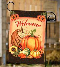 Toland Welcome Cornucopia 12.5 x 18 Double Sided Fall Autumn Pumpkin Garden Flag