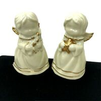 """Angel Bells Set of 2 White Porcelain Gold Accents 3.5"""" Figurine Star & Tree"""