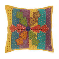 Boho Square Embroidered 16X16 Cushion Cover Ottoman Pouf Pillow Cases Sofa Decor