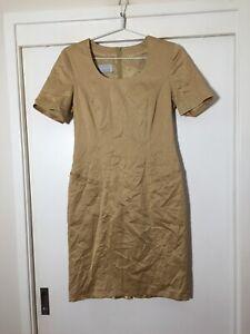 Bogner Womens Gold Shift Dress Size 38 Aus 10 Cotton Good Condition