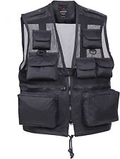 Black Tactical Recon Vest, Military Multi-Pocket Nylon Water Resistant Vest