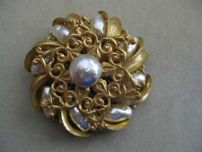 MIRIAM HASKELL Goldtone Filigree Faux Pearl Layered Round Pin Brooch - Signed