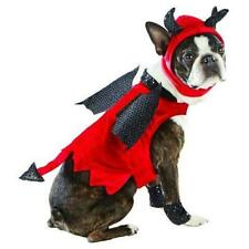 New Red Devil Satin Lucifer Beelzebub Pet Cat Dog Halloween Costume size M
