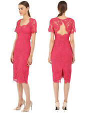 Marchesa Notte Open Back Fuchsia Sheath Cocktail Dress Laddering Detail 10  $895