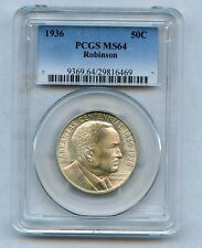 1936 PCGS Robinson Commemorative Half Dollar PCGS MS 64 * Low Mintage Just 9,660