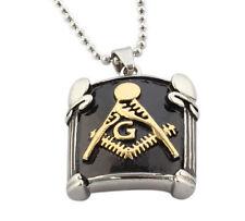 Biker Jewelry Retro Vintage Stainless Steel Masonic Necklace Pendant Black Gold