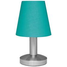 Nachttischlampe Touchschalter Tischleuchte Textilschirm Türkis