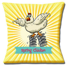 """FUNNY MESSAGE CARTOON SPRING CHICKEN NOVELTY GIFT IDEA 16"""" Pillow Cushion Cover"""