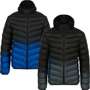 Men's Quilted 2 Tone Jacket Padded Windbreaker Puffer Hooded Bubble Coat New