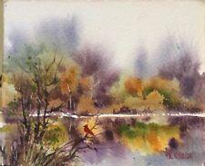 Pamela Wilhelm Original Watercolor Painting Red Cardinal Golden Autumn Lake