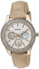 Fossil Women's ES3104 Stella Multi-Function White Dial Tan Leather Watch