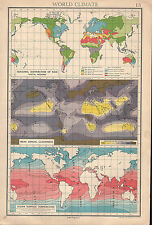1936 MAP WORLD CLIMATE SEASONAL DISTRIBUTION RAIN CLOUDINESS OCEAN SURFACE TEMP