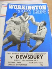 29/01/1978 Rugby League Programme: Workington Town v Dewsbury (team changes)