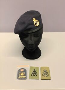 Royal Navy-Issue Petty Officer Beret, Badge, Lapel Patches & Slides. Size 52cm.