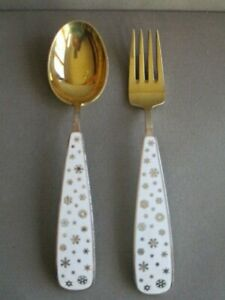 A. Michelsen 1945 Christmas Sterling Gold Enamel SPOON & FORK ~ Snow Flakes