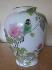 Fukagawa Bird Vase Arita Porcelain Japanese Vintage Nippon Flowers 10'' tall
