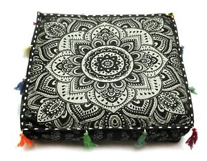 """New Pet Dog Bed Cover 20"""" Square Mandala Cotton Floor Cushion Pillow Cover"""