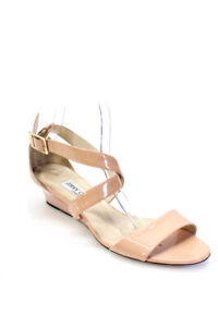 Jimmy Choo Womens Ankle Strap Low Wedge Sandals Patent Leather Tan Size 40 10